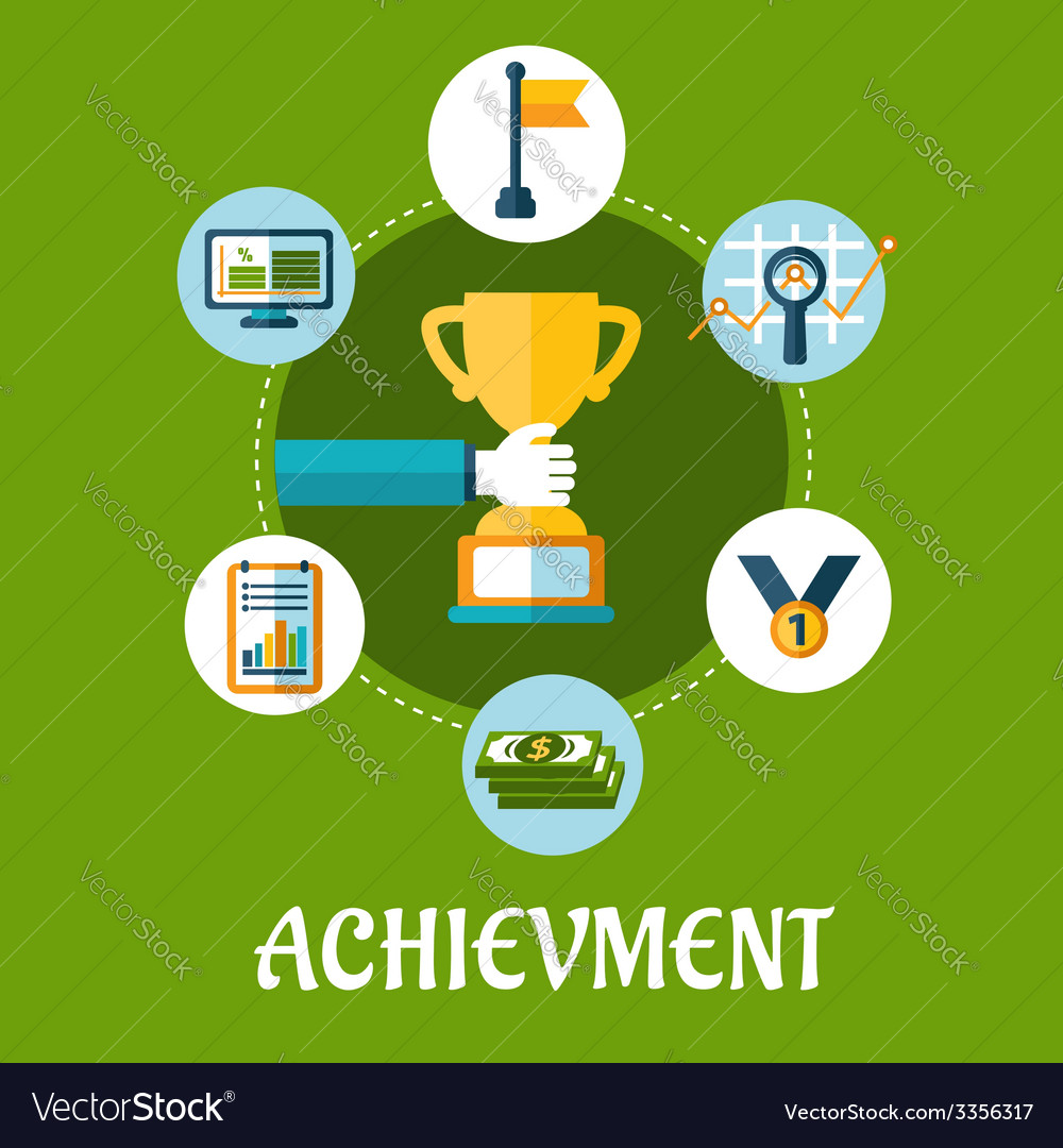 Business achievment and success flat icons vector | Price: 1 Credit (USD $1)
