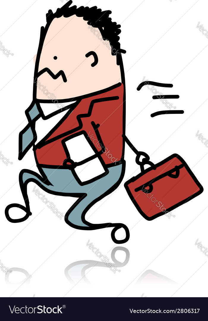 Businessman ran with suitcase sketch for your vector | Price: 1 Credit (USD $1)