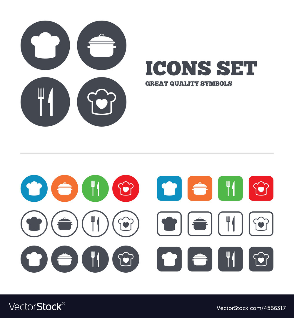 Chief hat cooking pan icons fork and knife vector | Price: 1 Credit (USD $1)