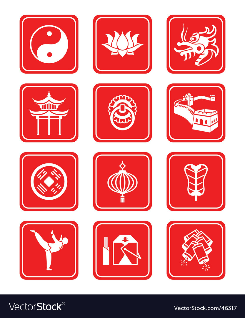 Chinese culture icons vector | Price: 1 Credit (USD $1)
