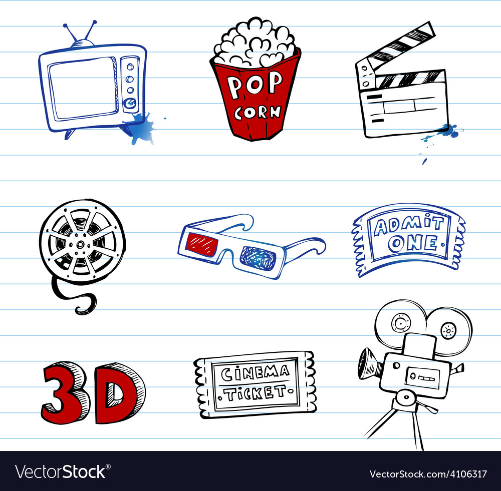 Cinema symbols set vector | Price: 1 Credit (USD $1)
