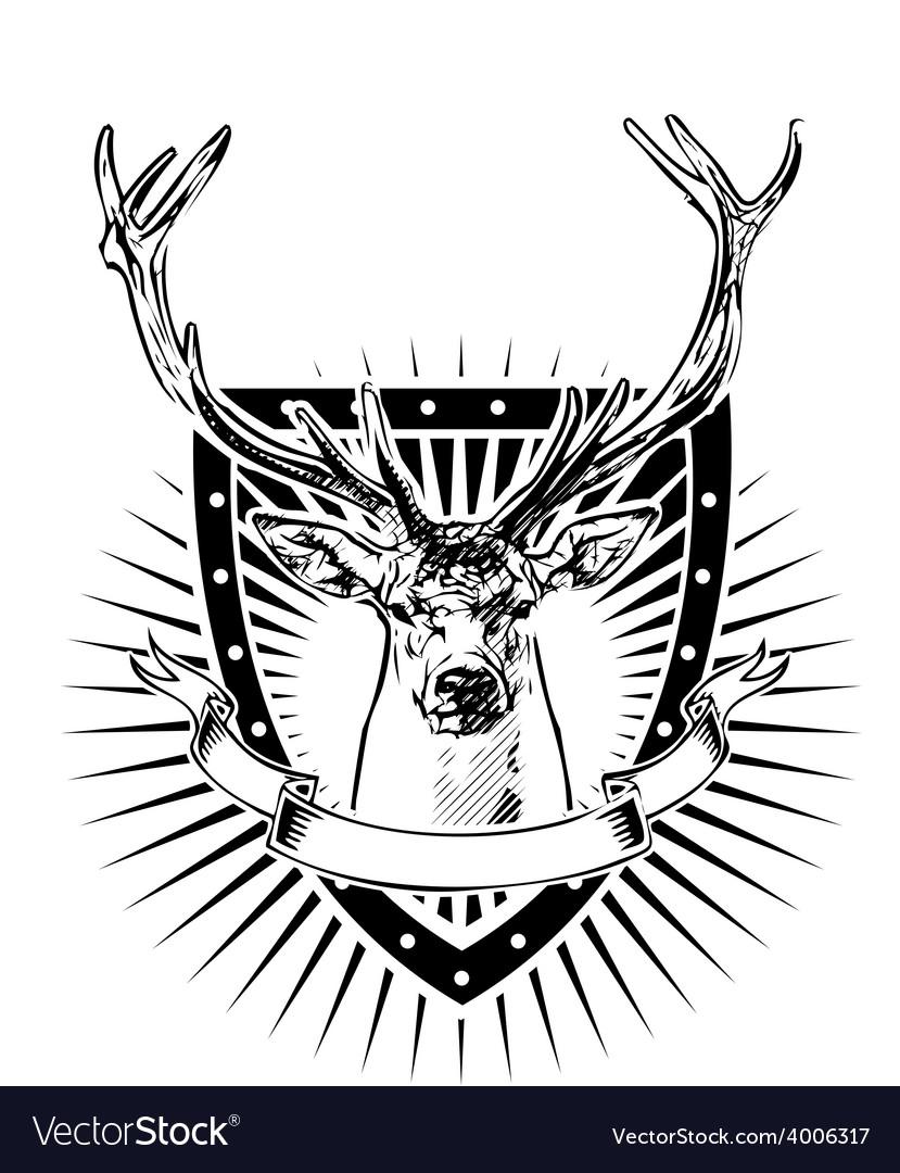 Deer shield vector | Price: 3 Credit (USD $3)