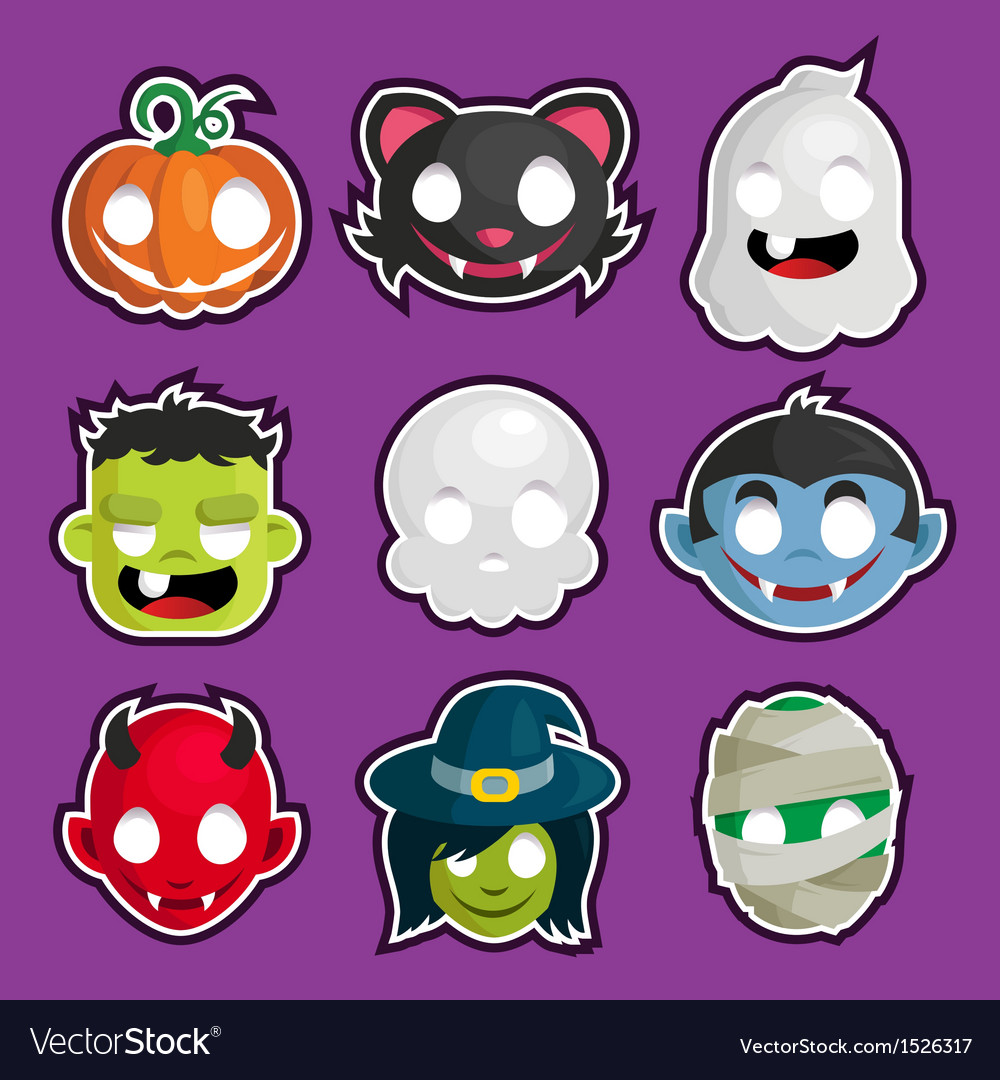Halloween head stickers vector | Price: 1 Credit (USD $1)