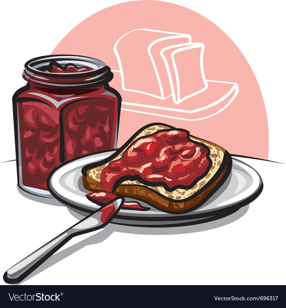 Jam with bread vector | Price: 3 Credit (USD $3)