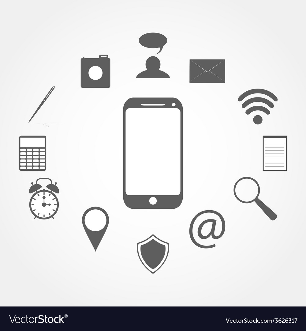 Mobile phone and icons vector   Price: 1 Credit (USD $1)