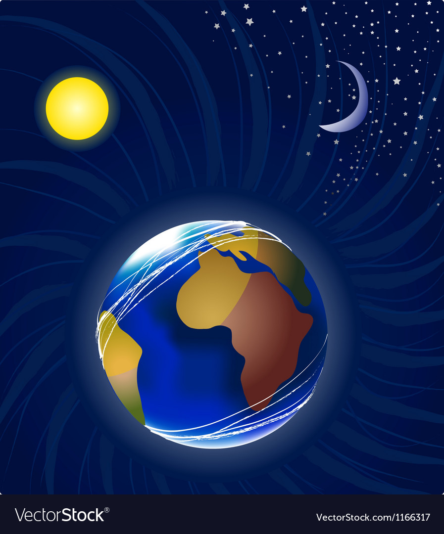 Moon earth and sun vector | Price: 1 Credit (USD $1)