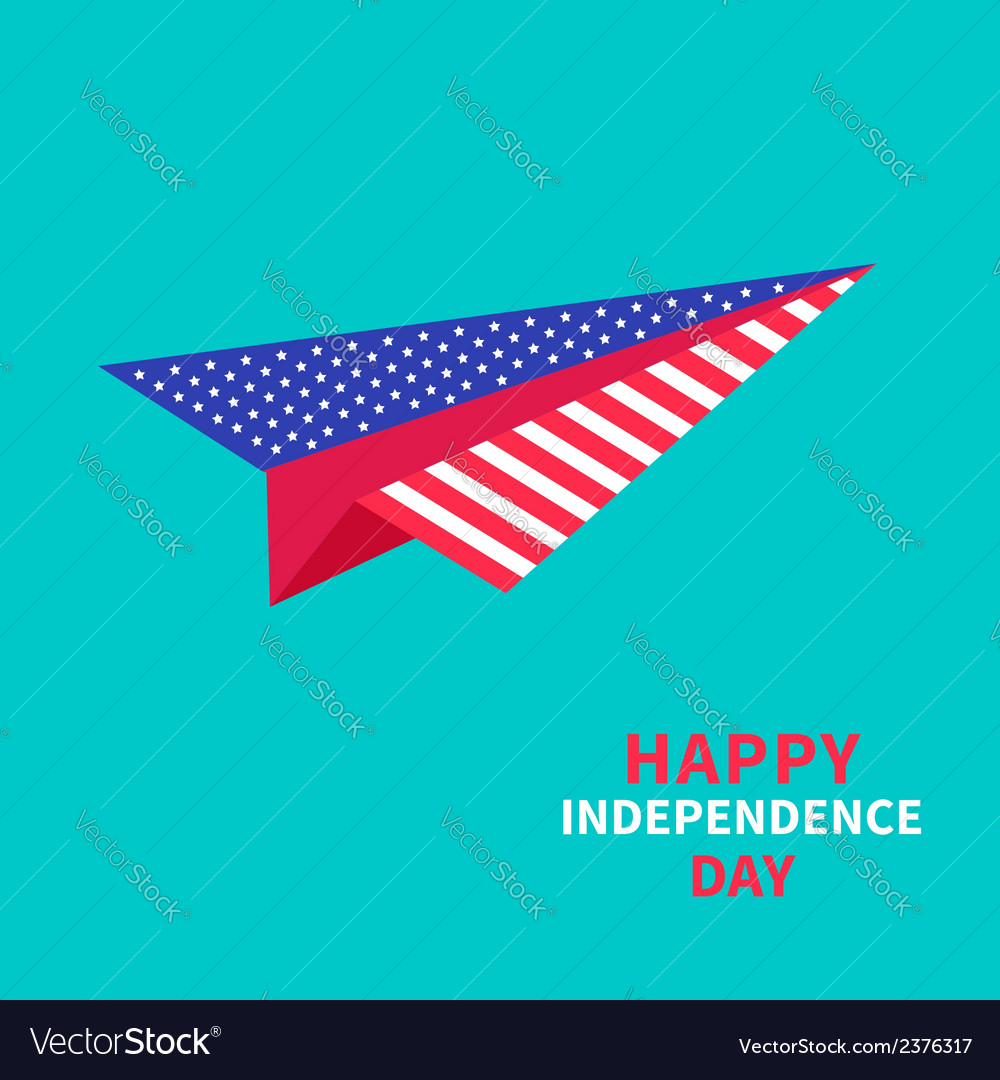 Paper plane with stars and strips independence day vector | Price: 1 Credit (USD $1)
