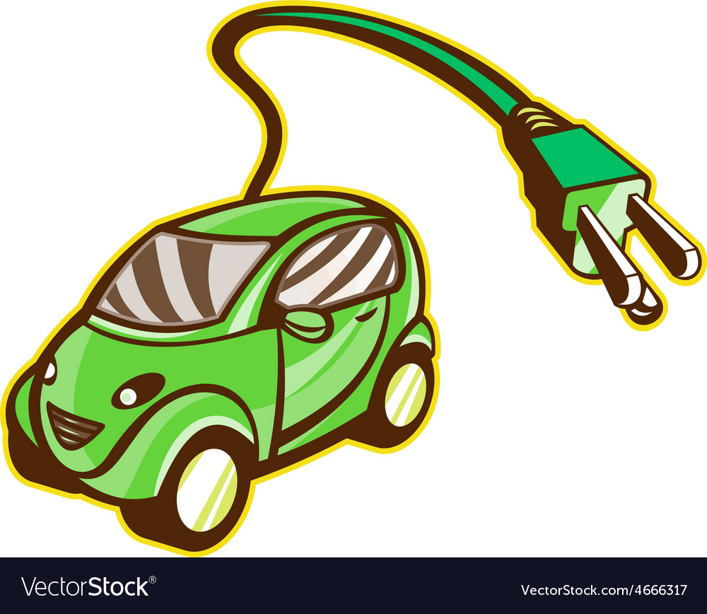 Plug-in hybrid electric vehicle isolated vector | Price: 1 Credit (USD $1)