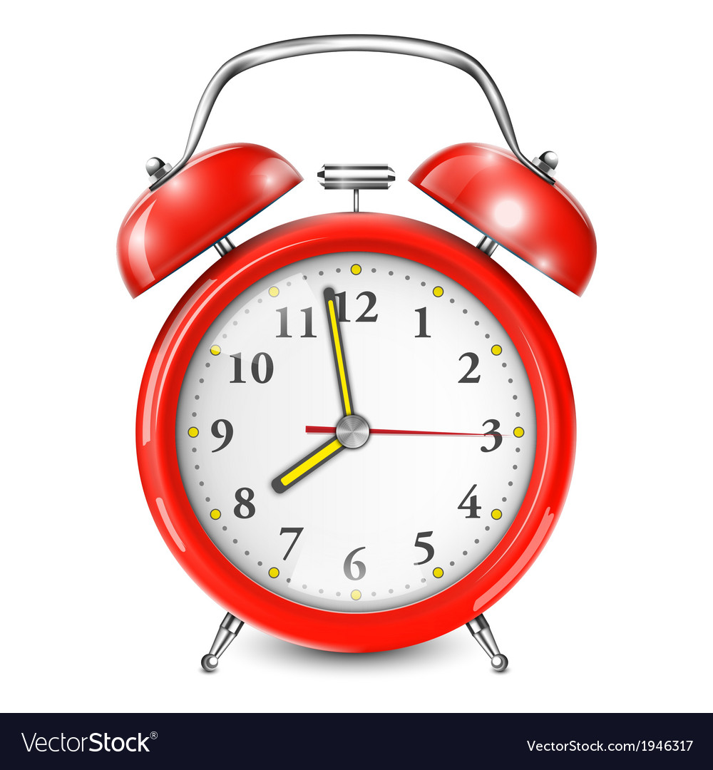 Red alarm clock isolated on white vector | Price: 1 Credit (USD $1)