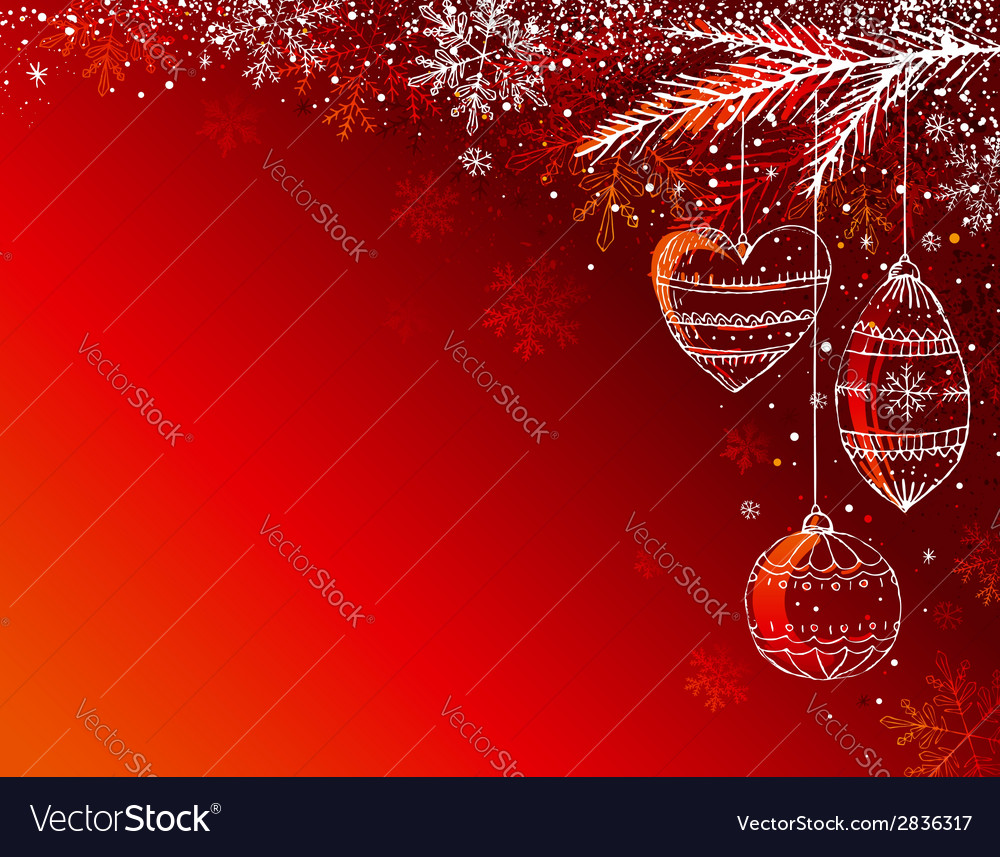 Red background with christmas balls vector | Price: 1 Credit (USD $1)