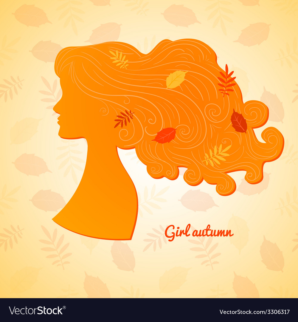 Silhouette of female profile with leaves in her vector | Price: 1 Credit (USD $1)