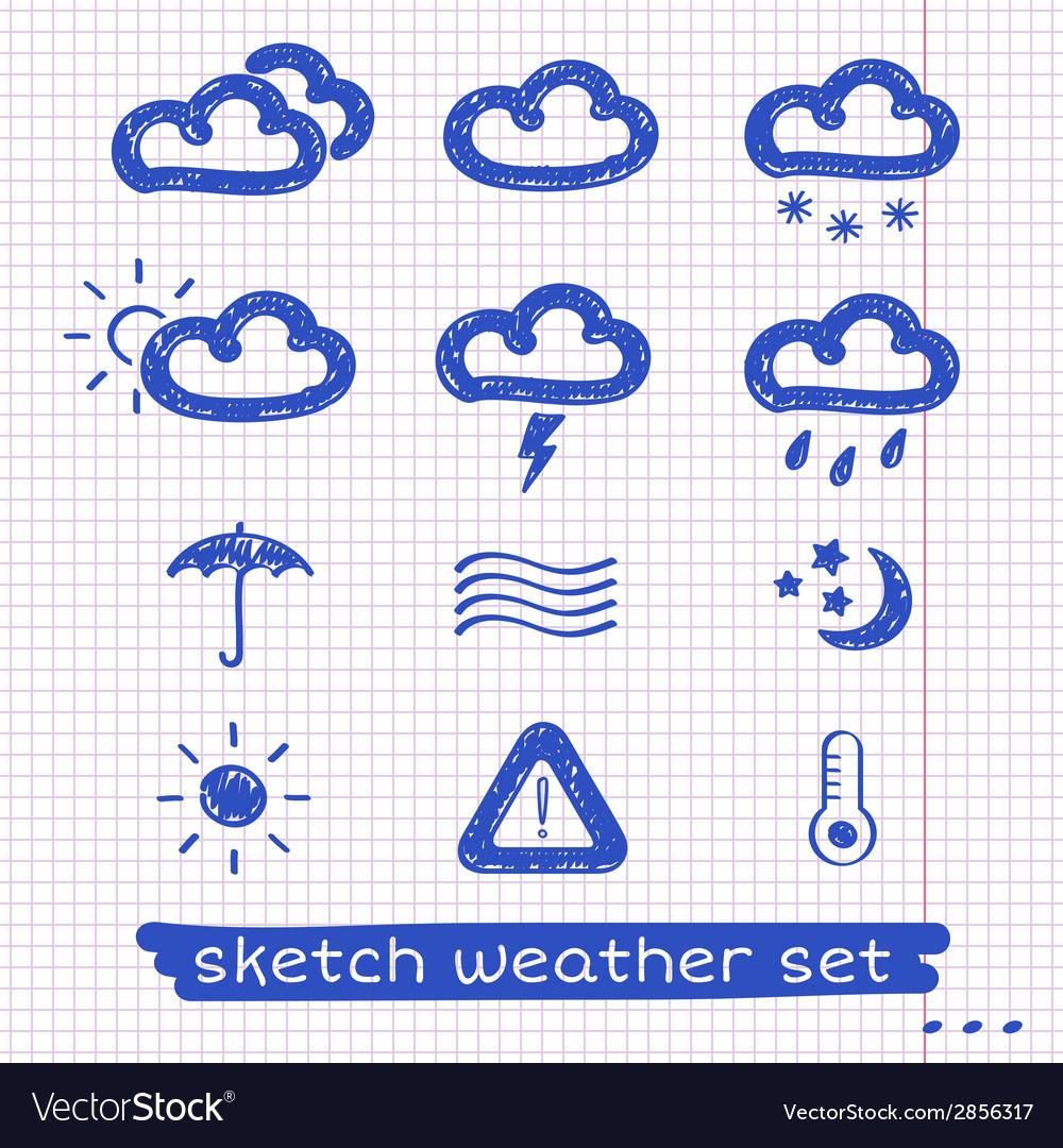 Weather sketch set vector | Price: 1 Credit (USD $1)