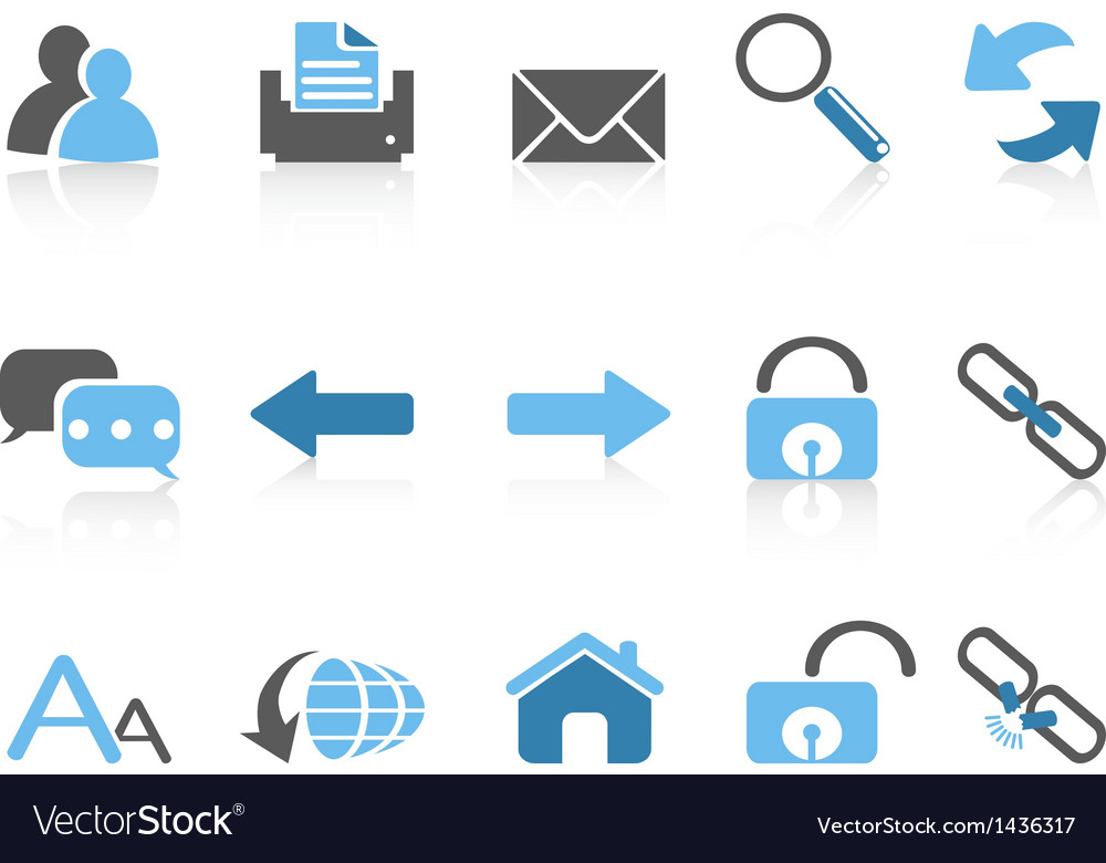 Web navigation icons blue series vector | Price: 1 Credit (USD $1)