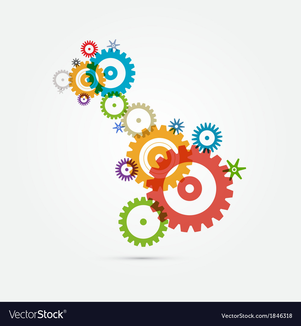 Abstract colorful cogs - gears on white background vector | Price: 1 Credit (USD $1)