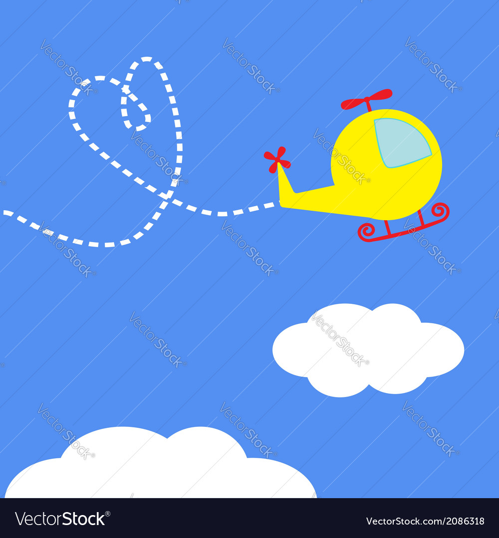 Cartoon helicopter dash heart in the sky card vector | Price: 1 Credit (USD $1)