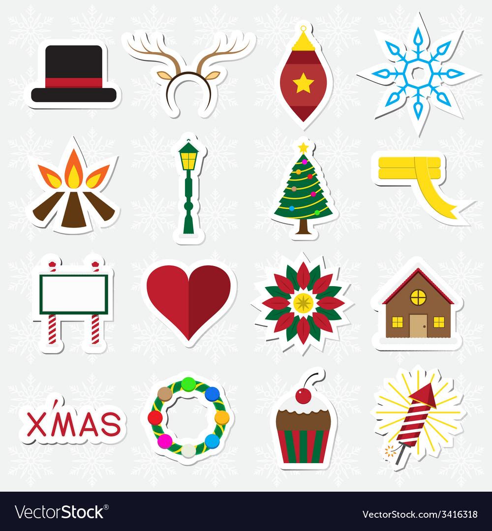 Christmas sticker icon set vector | Price: 1 Credit (USD $1)