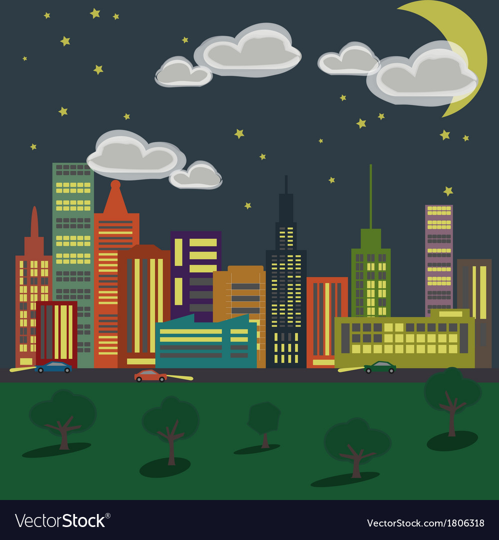 City 1 night vector | Price: 1 Credit (USD $1)