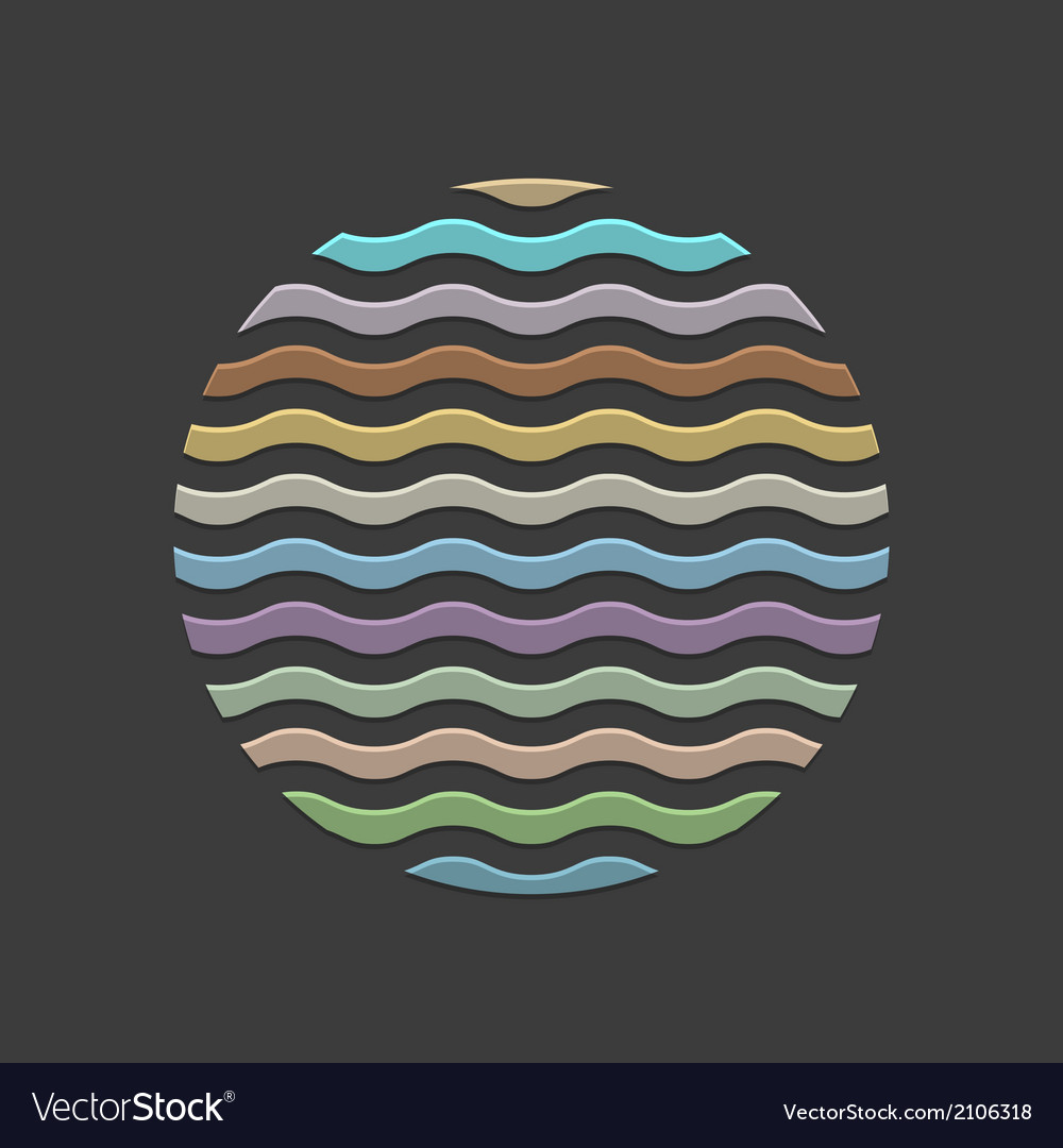 Colored waves in circle element for design vector | Price: 1 Credit (USD $1)