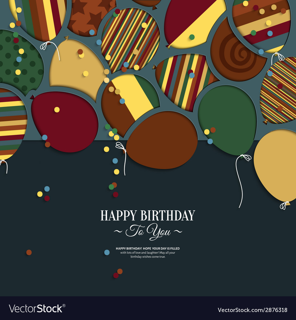Colorful birthday card with paper balloons and vector | Price: 1 Credit (USD $1)