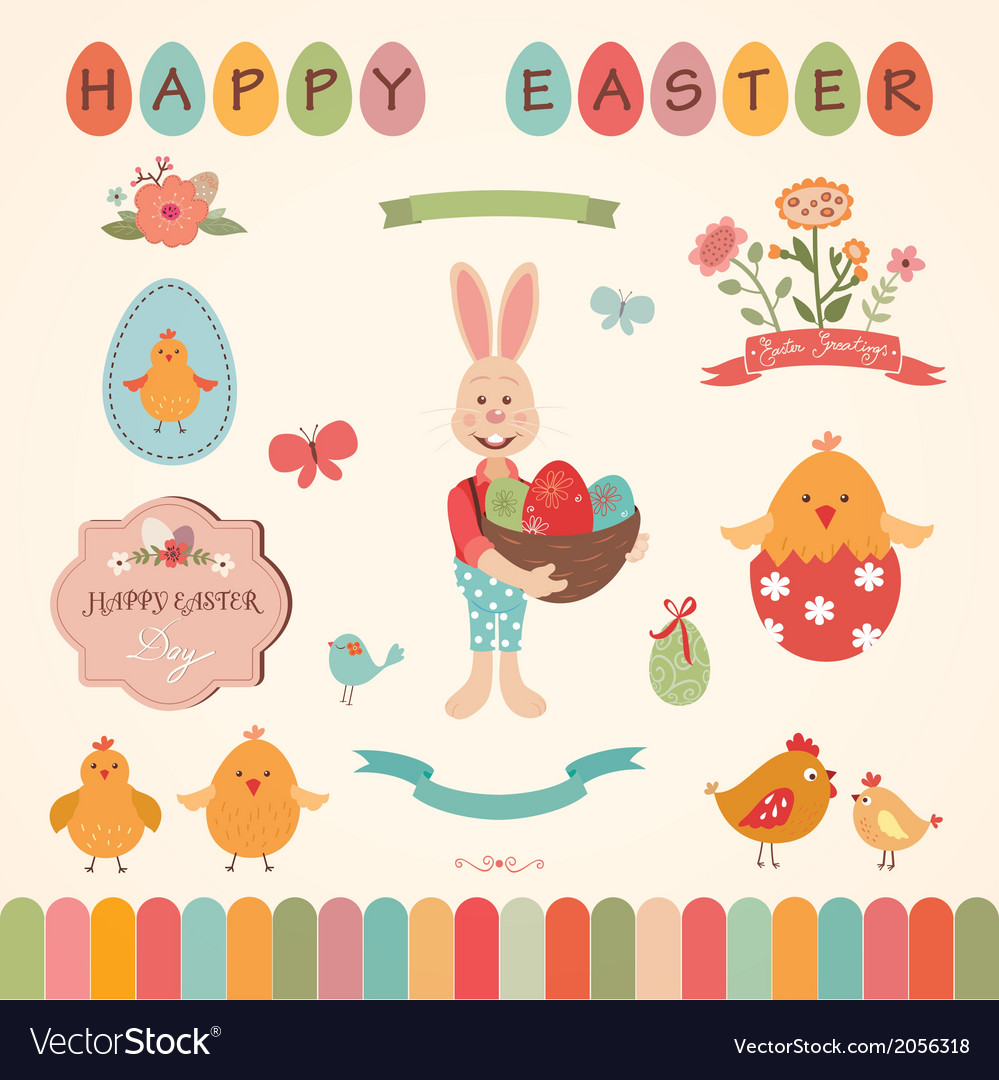 Easter graphic elements set vector | Price: 1 Credit (USD $1)