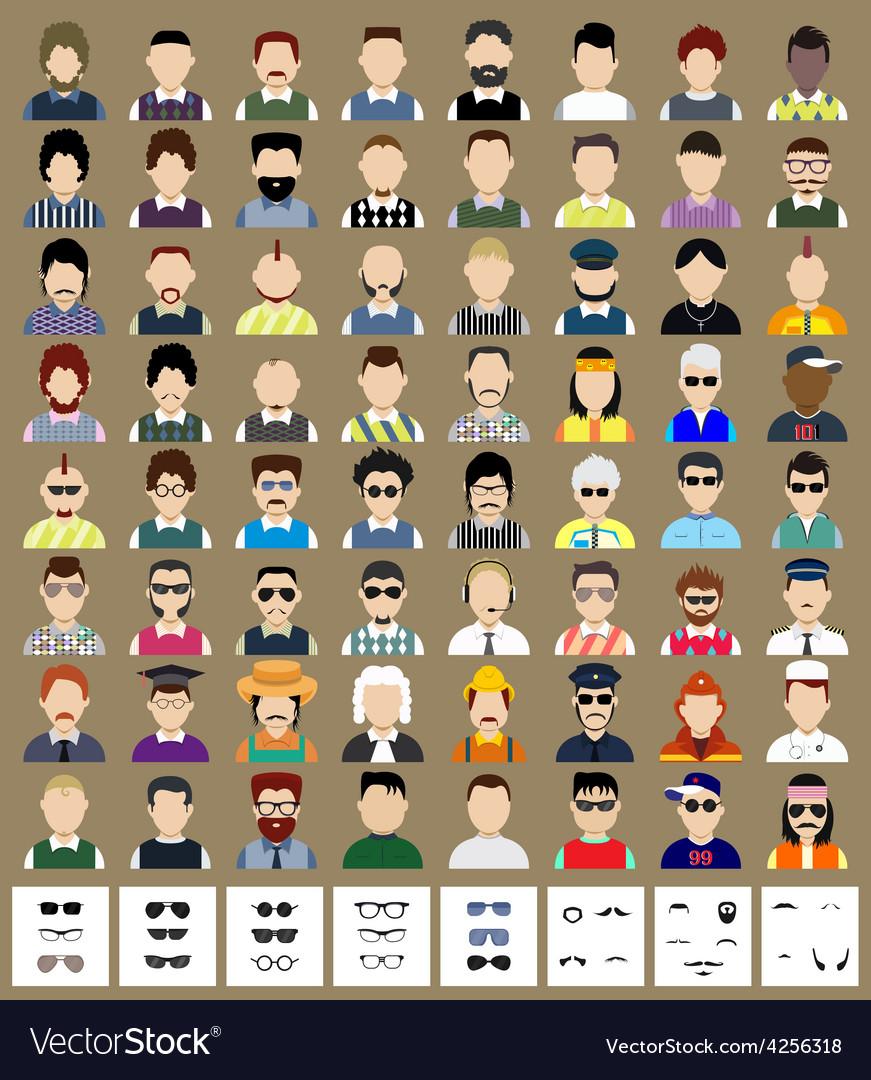Set of avatars man vector