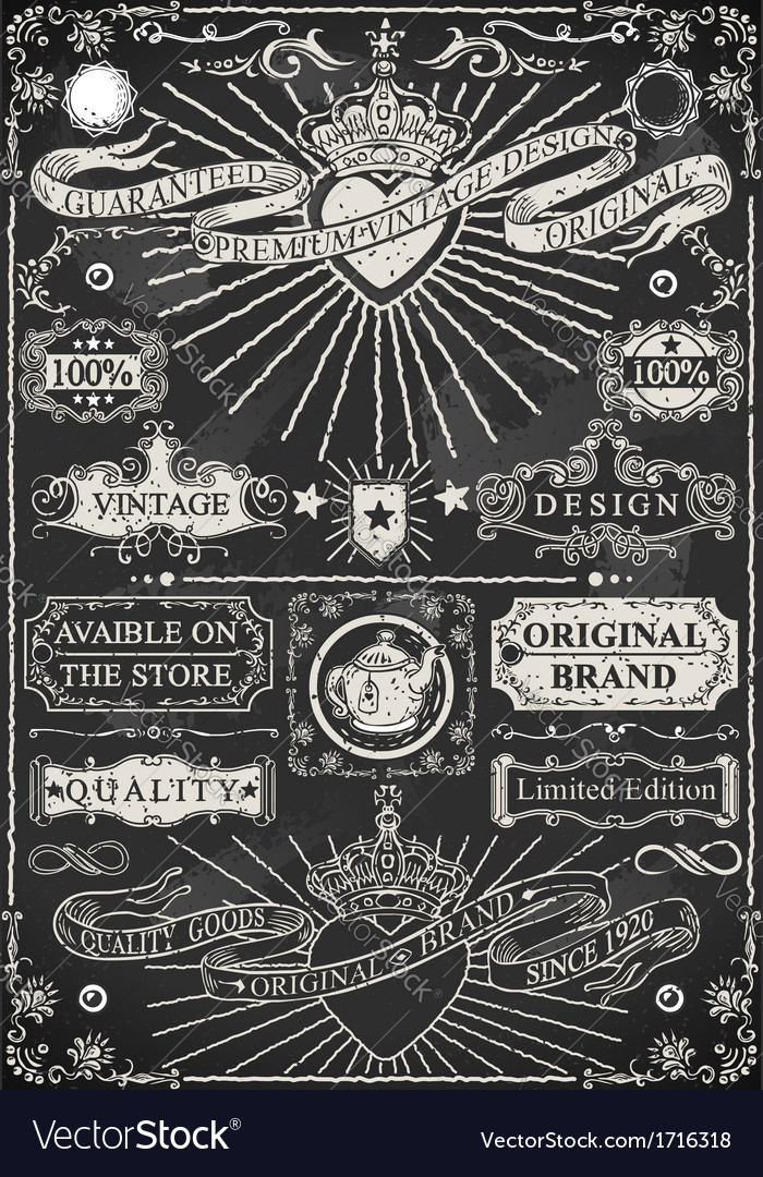Set of calligraphic design elements on blackboard vector | Price: 1 Credit (USD $1)