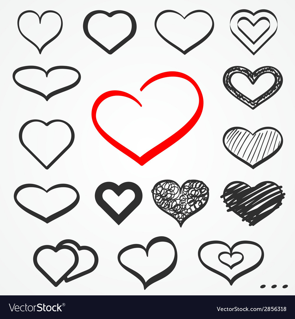 Sketch hearts set vector | Price: 1 Credit (USD $1)