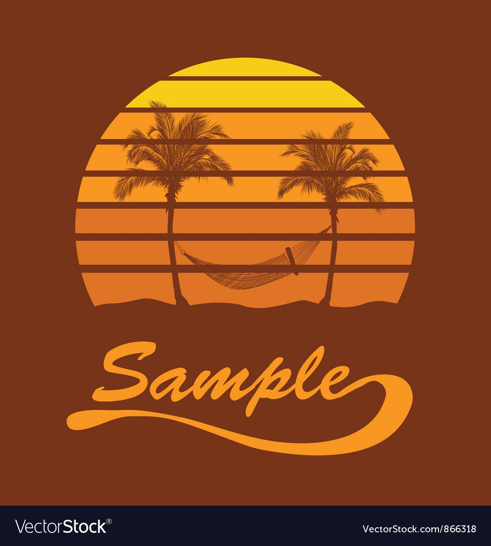 Summer t-shirt design with palm trees vector | Price: 1 Credit (USD $1)