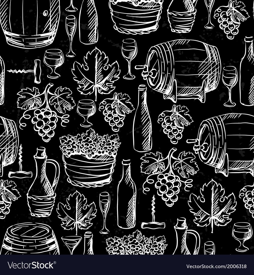 Wine seamless pattern drawn by chalk vector