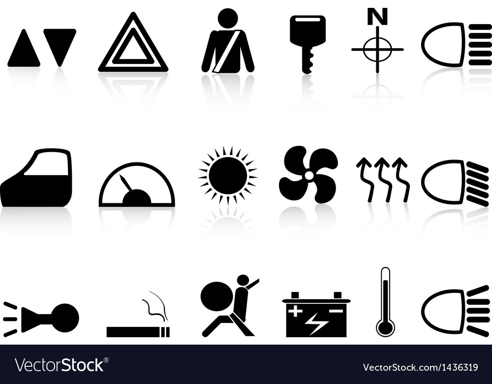 Car dashboard icons set vector | Price: 1 Credit (USD $1)