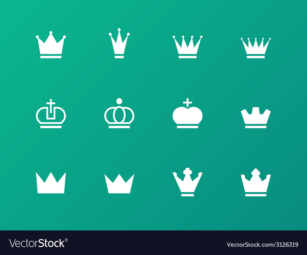 Crown icons on green background vector | Price: 1 Credit (USD $1)
