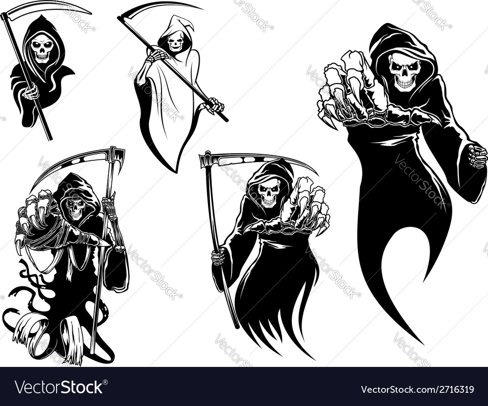 Death skeleton characters vector