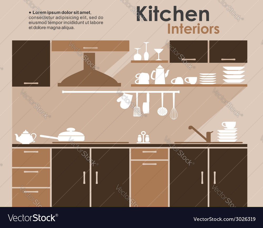 Kitchen interior in flat infographic style vector | Price: 1 Credit (USD $1)