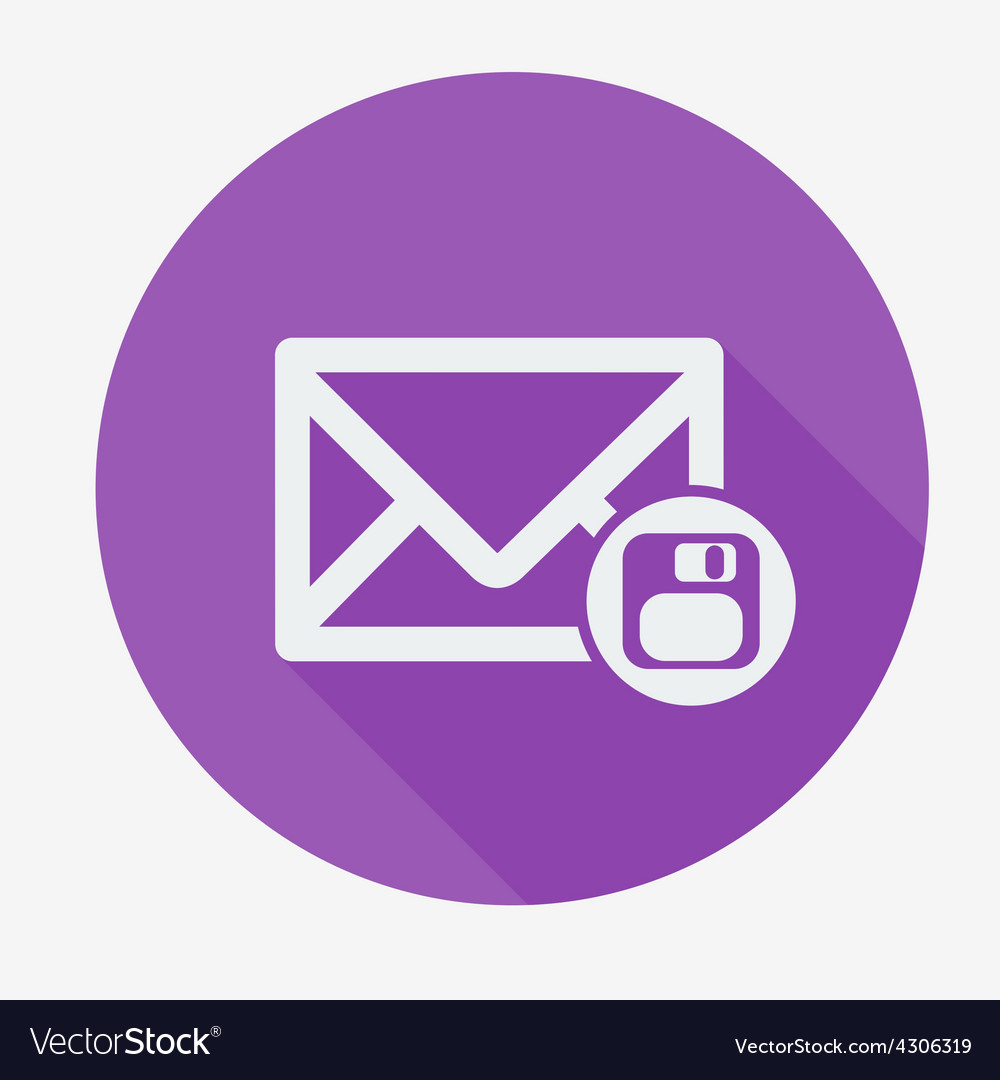 Mail icon envelope with floppy disk flat design vector | Price: 1 Credit (USD $1)