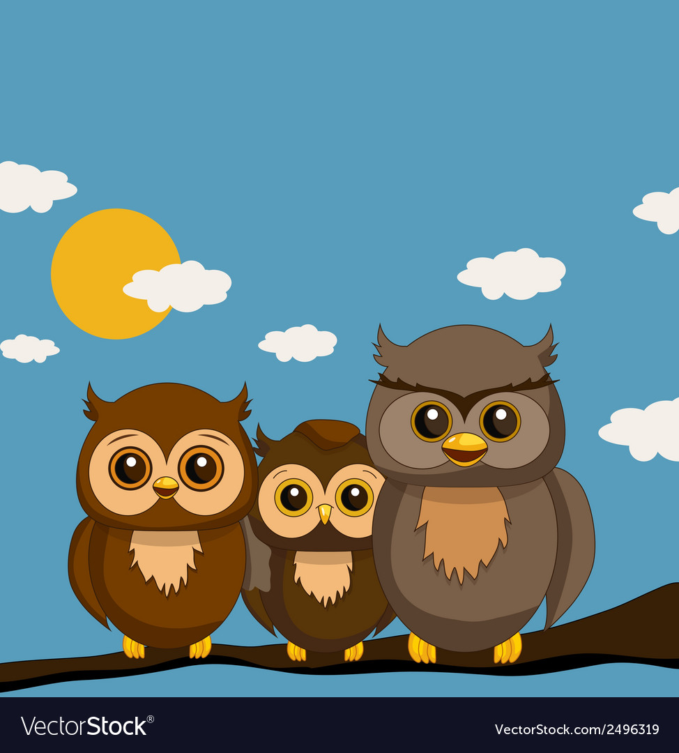 Owls family vector | Price: 1 Credit (USD $1)