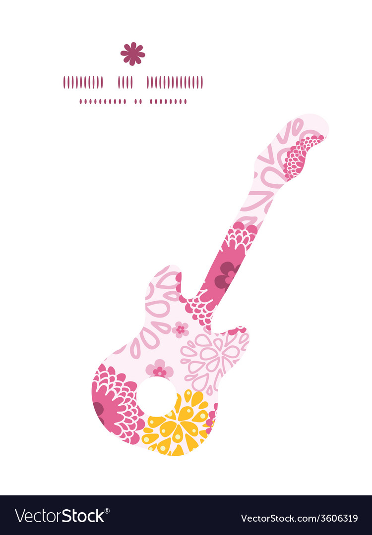 Pink field flowers guitar music silhouette pattern vector | Price: 1 Credit (USD $1)