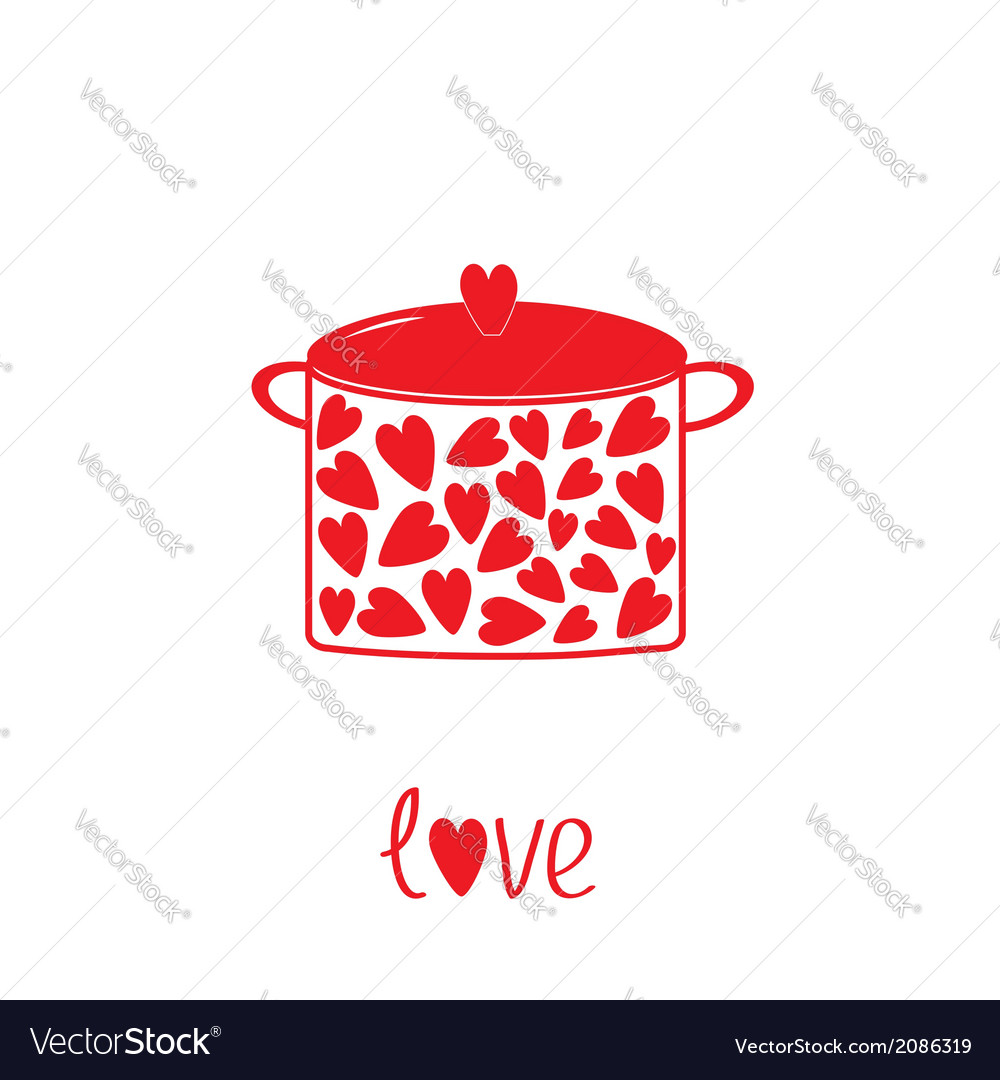 Pot with hearts love card vector | Price: 1 Credit (USD $1)