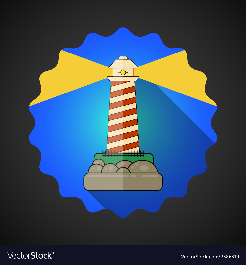 Travel lighthouse flat icon vector | Price: 1 Credit (USD $1)