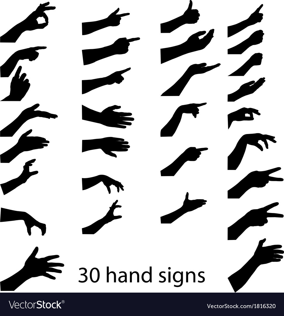 30 hands sign vector | Price: 1 Credit (USD $1)