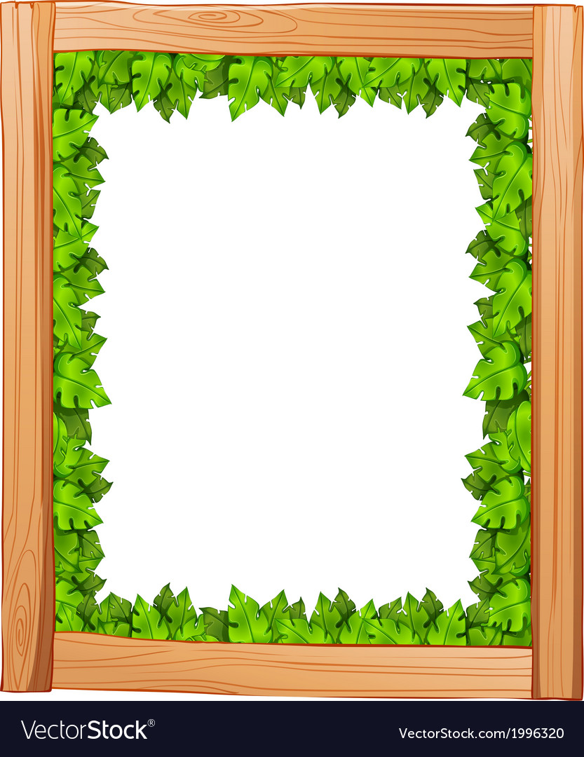 A border design made of wood and green leaves vector | Price: 1 Credit (USD $1)