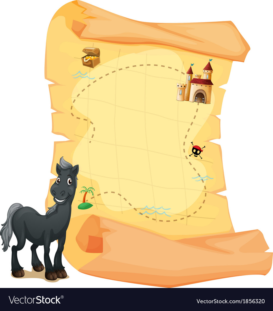 A treasure map and a gray horse vector | Price: 3 Credit (USD $3)