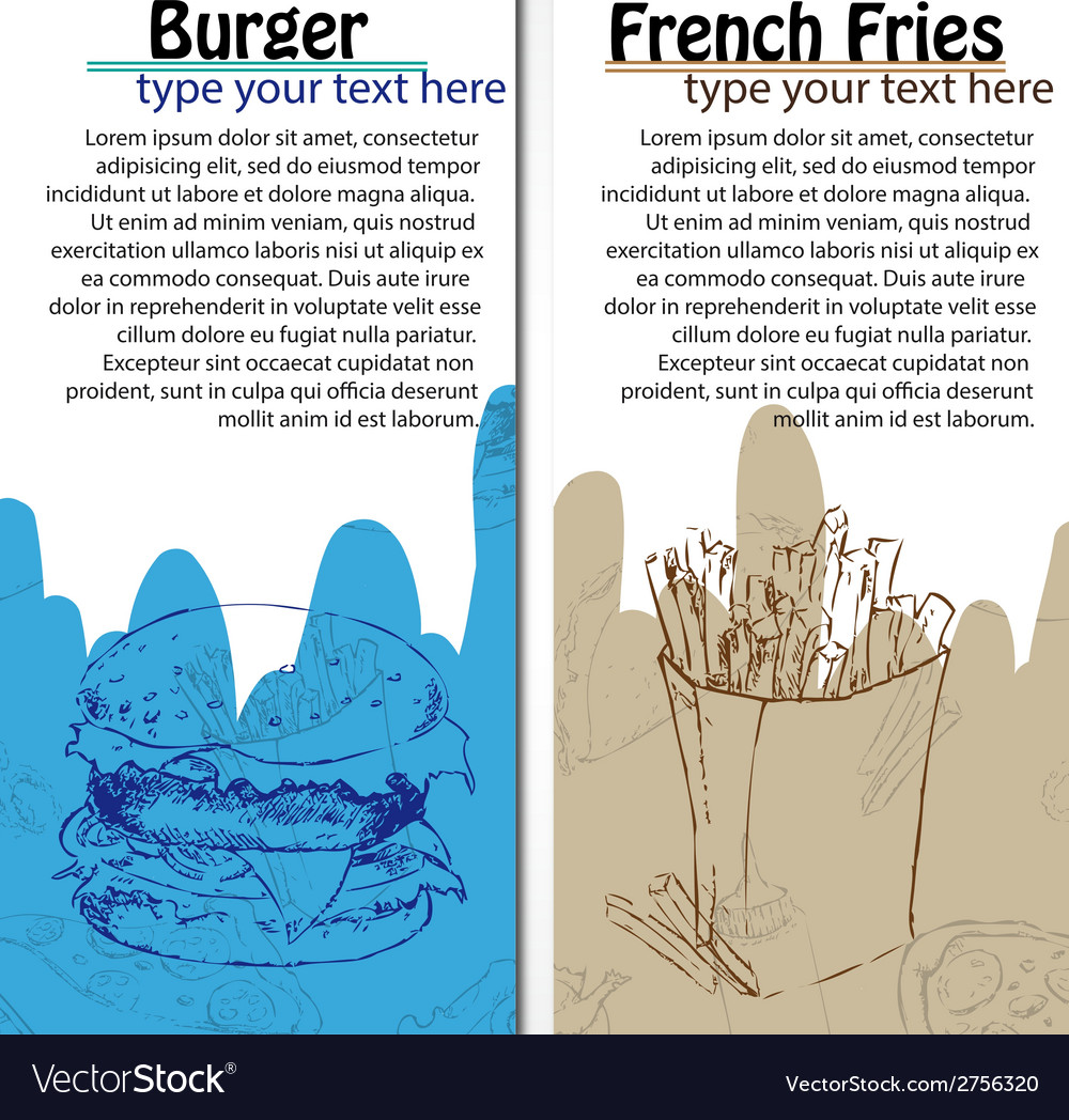 Banners of fast food design with french fries and vector | Price: 1 Credit (USD $1)