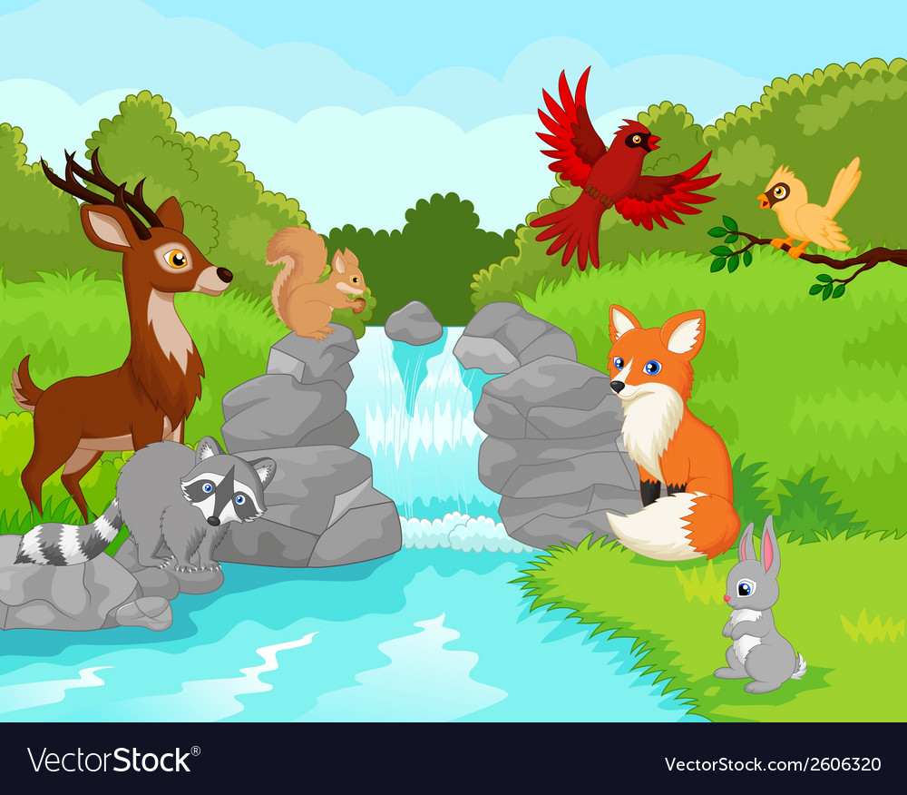 Beautiful waterfall with wild animals cartoon vector | Price: 3 Credit (USD $3)