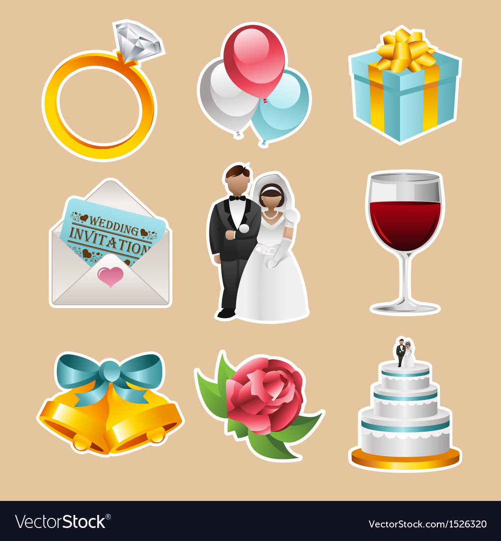 Colorful wedding icons vector | Price: 1 Credit (USD $1)