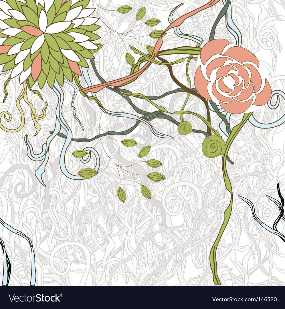 Exotic flowers on gray background vector | Price: 1 Credit (USD $1)