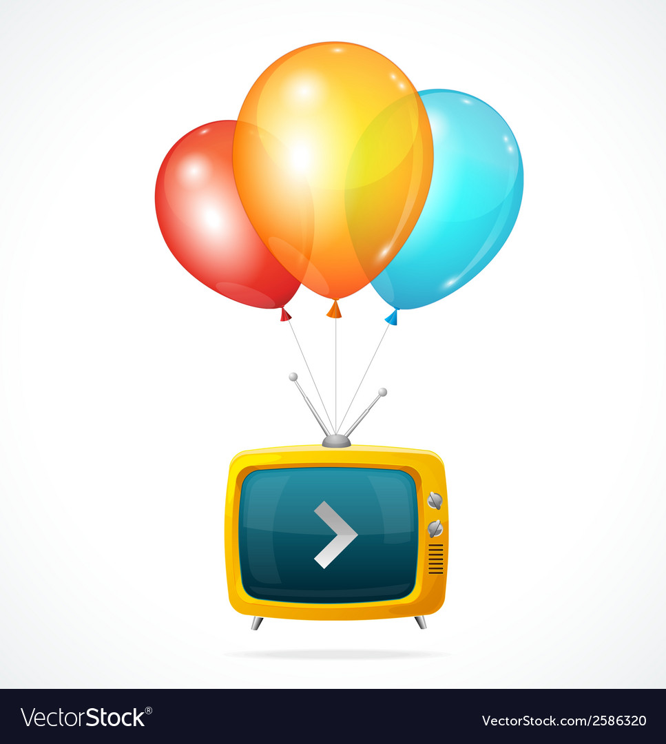Fly tv and ballons vector | Price: 1 Credit (USD $1)