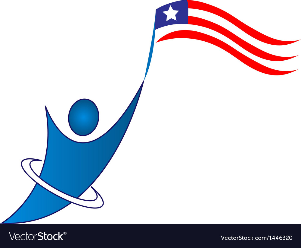 Happy patriotic man logo vector | Price: 1 Credit (USD $1)