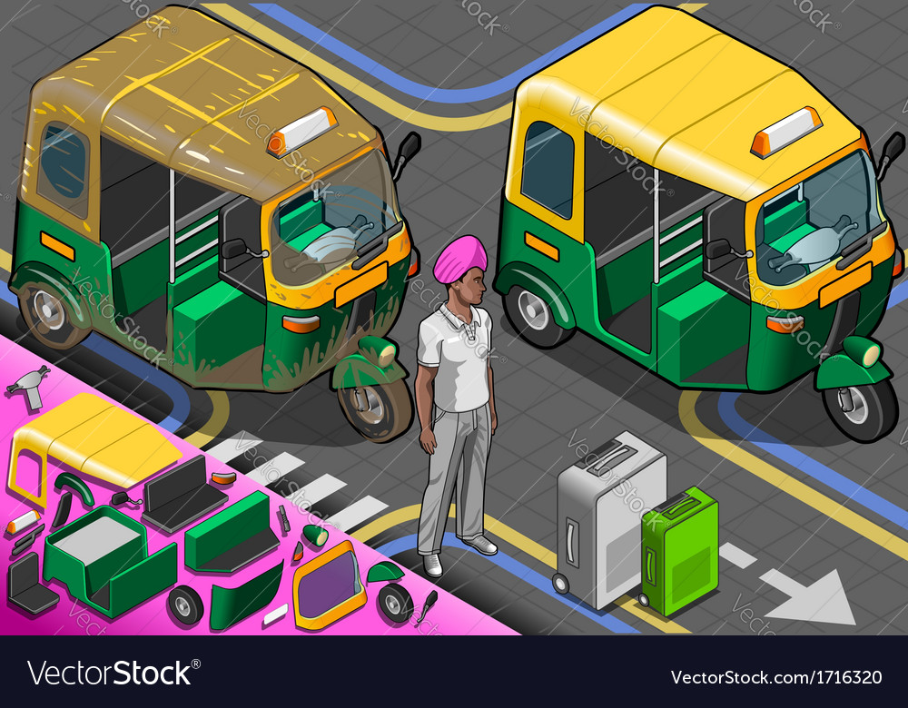 Isometric indian rickshaw in front view vector | Price: 1 Credit (USD $1)