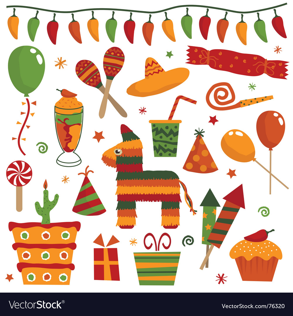 Mexican party objects vector | Price: 1 Credit (USD $1)
