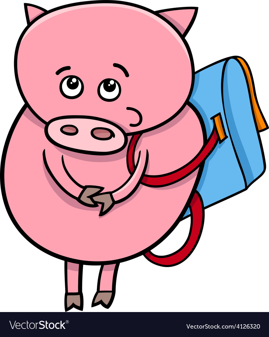 Piglet with satchel cartoon vector | Price: 1 Credit (USD $1)